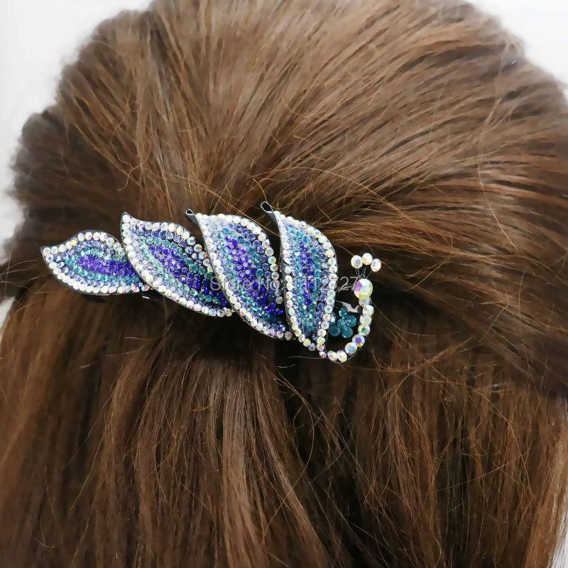 33*84mm Wedding Headdress Peacock Inlaid Rhinestone Headband Head Bands Headpiece Hair Accessory Clip Hairpin Gifts(China (Mainland))