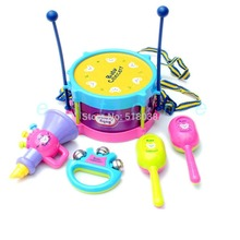 D19  hot-selling newest  5pcs Kids Roll Drum Musical Instruments Band Kit Children Toy Gift Set New Free Shipping(China (Mainland))