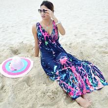 M-5XL 2015 summer style sexy women boho long dress beach maxi dress plus size floral print dress for women vestidos longo(China (Mainland))