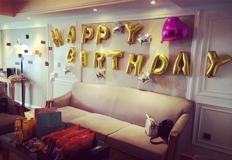 2019 Gold Alphabet Letters Balloons Happy Birthday Party Decoration