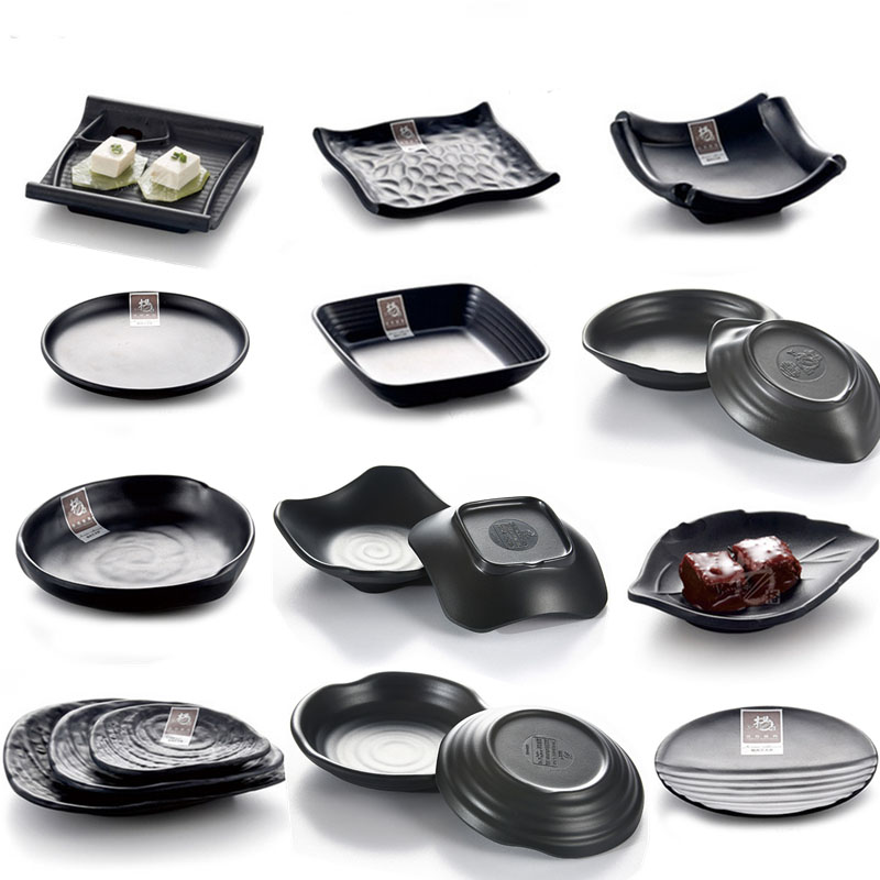 China black Frost Japan and South Korea style Tableware Dishes Plates Barbecue lettuce snack Fangci resin tableware plate(China (Mainland))