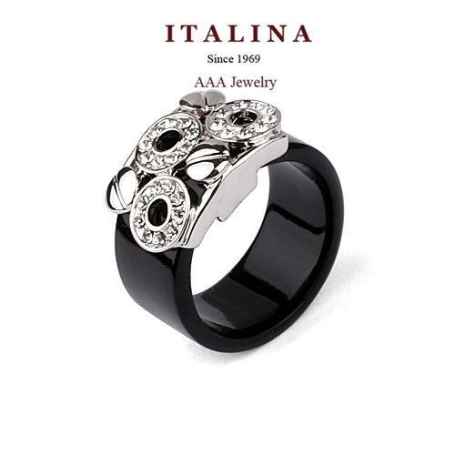 Delicate Fashion Acrylic Circle Black Ring Platinum White Gold Plated Austrian Crystal Ring Jewelry for Women