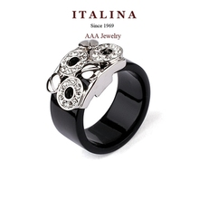 310895 Delicate AAA Fashion Round Circle Black Ring Platinum White Gold Plated Rings Jewelry for Women