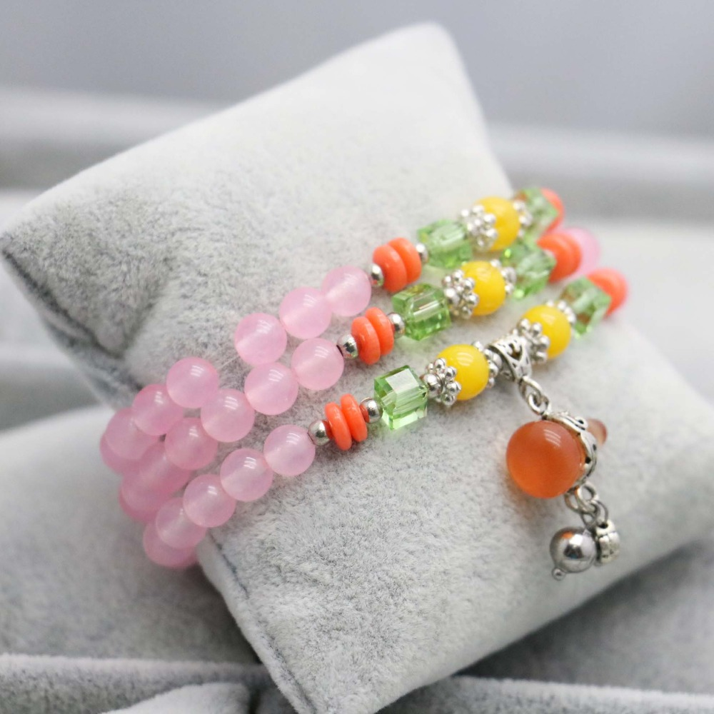 Ethnic style Lucky Gourd Pendant Crystal beads pink Chalcedony Bracelet hand chain for women girls Ladies Natural stones(China (Mainland))