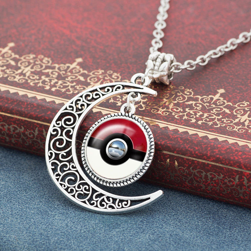 2016 Vintage Pokemon Go Poke Ball Glass Cabochon Hollow Half Moon Statement Chain Pendant Necklace Party Jewelry Men Women Gift(China (Mainland))