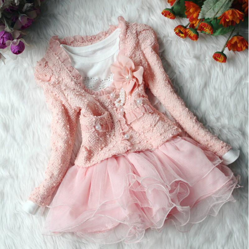 2015 New Baby Girls Kid 2 Piece Princess Style Shirt Tops Cardigan Garment Coat Dress Outfit Set Lovely Children Girls' Clothing(China (Mainland))
