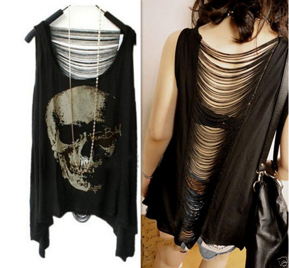 2015 HOT SELL Women Casual t shirt Skull Punk Singlet Dress Vintage Tank Pop Sexy Top long Tee T-Shirt(China (Mainland))