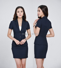 Plus Size Formal Dark Blue 2015 Spring Summer Professional Business Suits Jackets And Skirt Office Ladies Work Wear Blazers Set