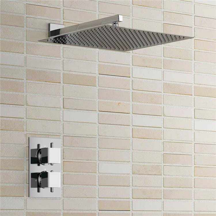 """Square 16"""" Ultra Thin Mixer Thermostatic Shower Head Set Chrome Thermostatic Bathroom Shower Set Wall Mounted(China (Mainland))"""