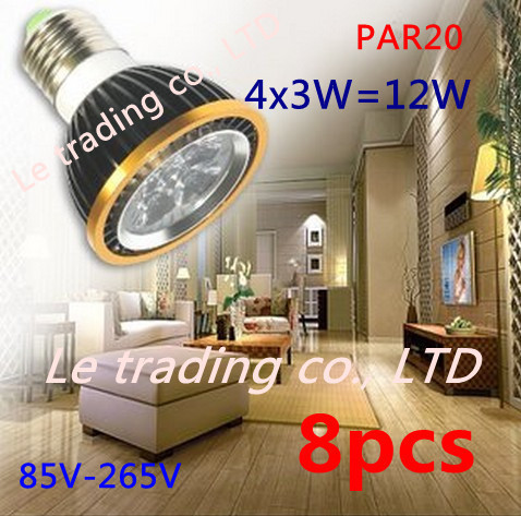 8Pcs/lot Par20 Led Lamp E27 Dimmable 4X3W 12W Spotlight Led Light Led Bulbs 85V-265V Energy Saving Free shipping