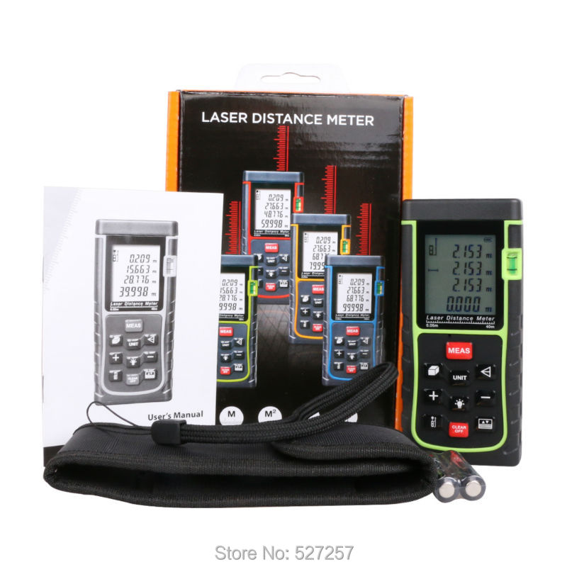 Free Shipping New RZ40 -3 40m 131ft Digital Laser Distance Meter Rangefinder Bubble Level Tape Measure Area/volume Build Tool
