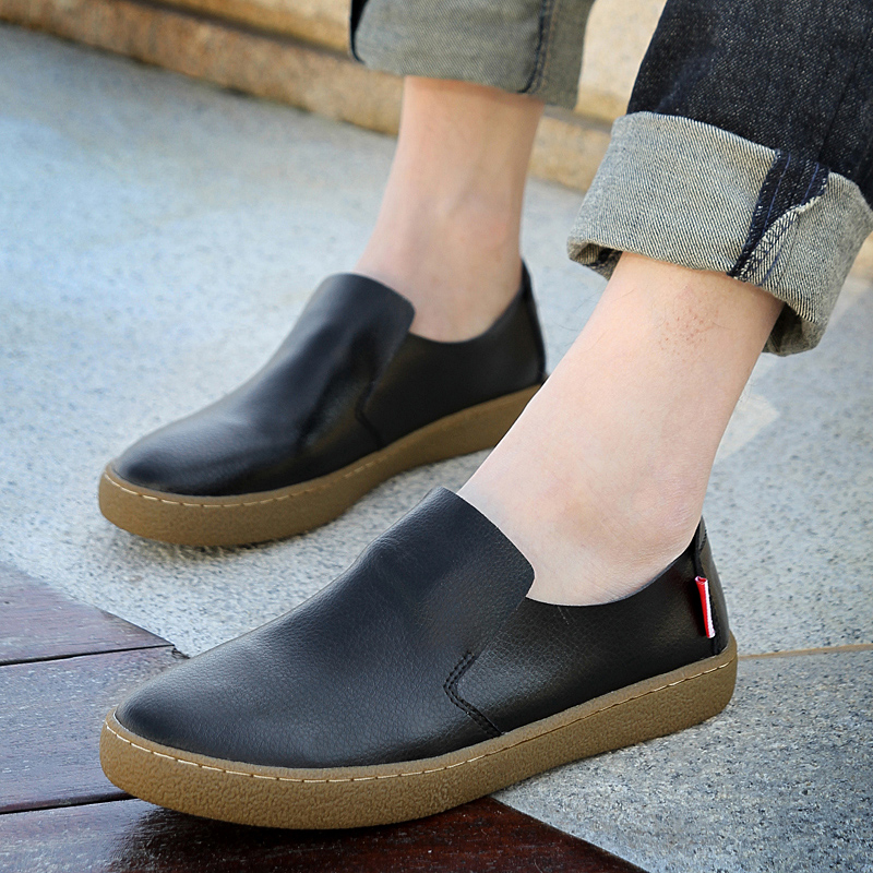 Shoes male casual leather british style genuine leather shoes lazy the trend of the foot men's wrapping cow muscle shoes outsole(China (Mainland))