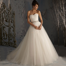 2017 Hot Sale Princess Bridal Gowns A-line Soft Tulle Low Back Wedding Dresses With Beaded Sequin Zipper Back(China (Mainland))