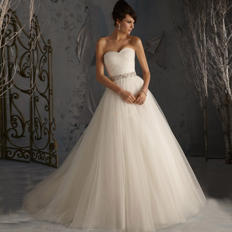 2016 custom made elegant vestidos bridal ball gown a line for A line tulle wedding dress