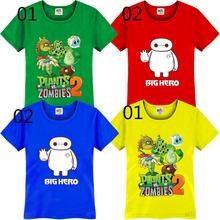 Plants VS Zombies Big Hero 6 Cool Cartoon Anime Printed Kids Boys Girls T-Shirt TShirt 2015 Fashion Short Sleeve Cotton T Shirt