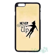 Fit for iPhone 4 4s 5 5s 5c se 6 6s 7 plus ipod touch 4/5/6 back skins cellphone case cover Peter Pan Tinkerbell NEVER GROW UP