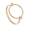 New Simple Gold Plated Round Metal Open Arm Cuff Bangle for Women Men Alloy Charm Bracelet