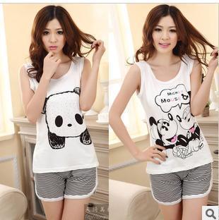 Free Shipping factory price 2013 summer pajamas women cotton short sleeve pajamas cute cartoon panda manufacturers selling