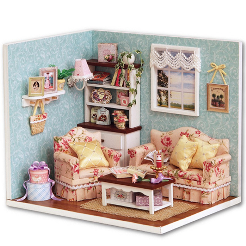 Wholesale Handcraft Diy Wooden Miniature Dollhouse Furniture Kit