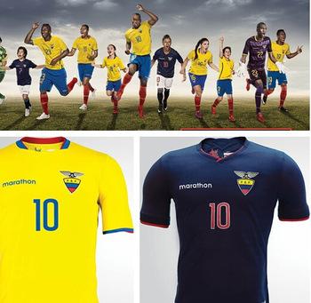 A+Ecuador Marathon Sports Jerseys 2016 yellow / blue Ecuador Copa America Home Kits 15/16 home from Ecuador shirts national team(China (Mainland))