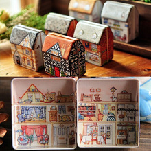 Classic Vintage House Shape Tea Box Container Candy Storage Tin Box Jewelry Gift Case(China (Mainland))