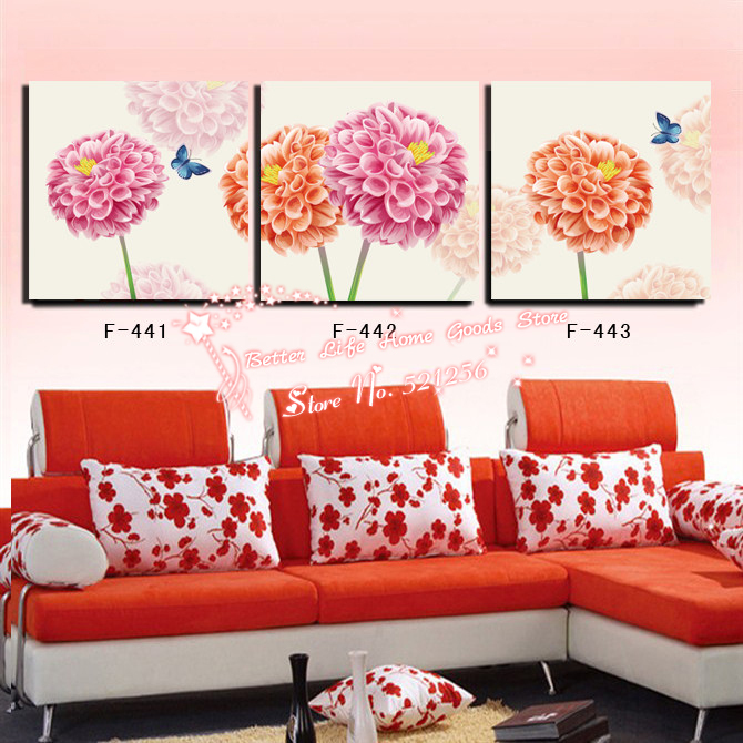 Modern Wall Art Printed Oil Painting Pictures No Frame 3 Panel Wall Painting Flower Abstract Dahlia Living Room Canvas Prints(China (Mainland))