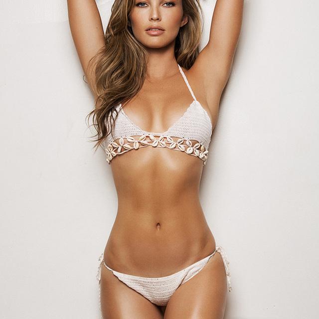 Очень популярная сексуальные женщины бикини бразильский росту купальный костюм пляж купальники дамы вязание крючком Biquini установить повязку оболочки купальник