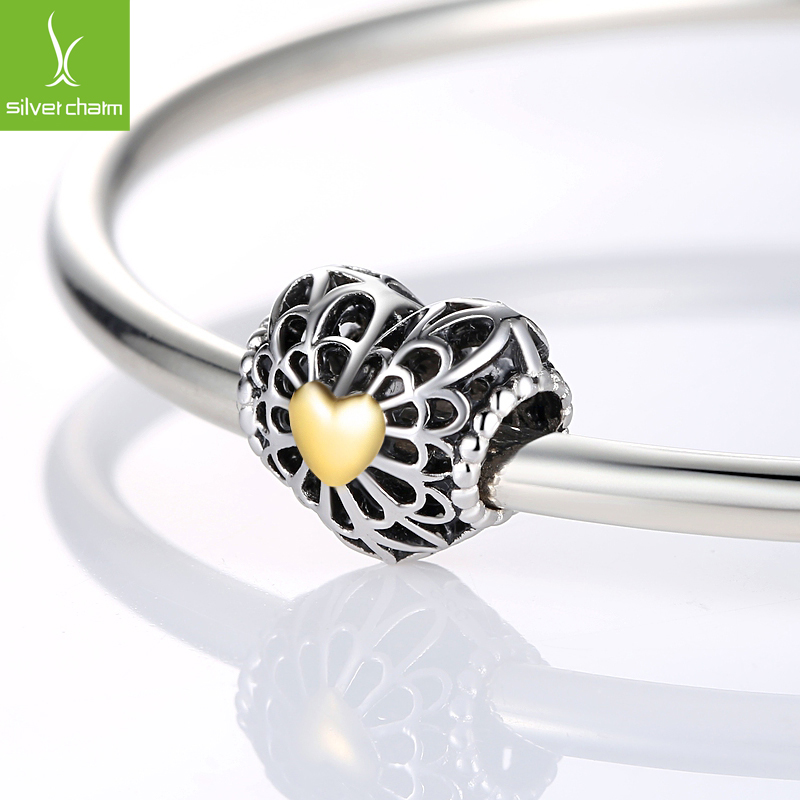 100% 925 Sterling Silver & 14K Gold Heart Original Charm Beads Fit Pandora Bracelet Pendants DIY identical Jewelry Vintage Heart(China (Mainland))