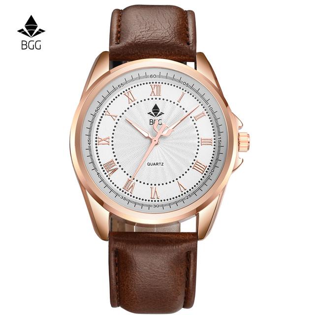 Bgg Бренд Мужские Часы Бизнес Часы Мужчины Водонепроницаемый Роман Количество Кварцевые Часы Часы Натуральная Кожа Мужчины Повседневная Кварцевые Часы