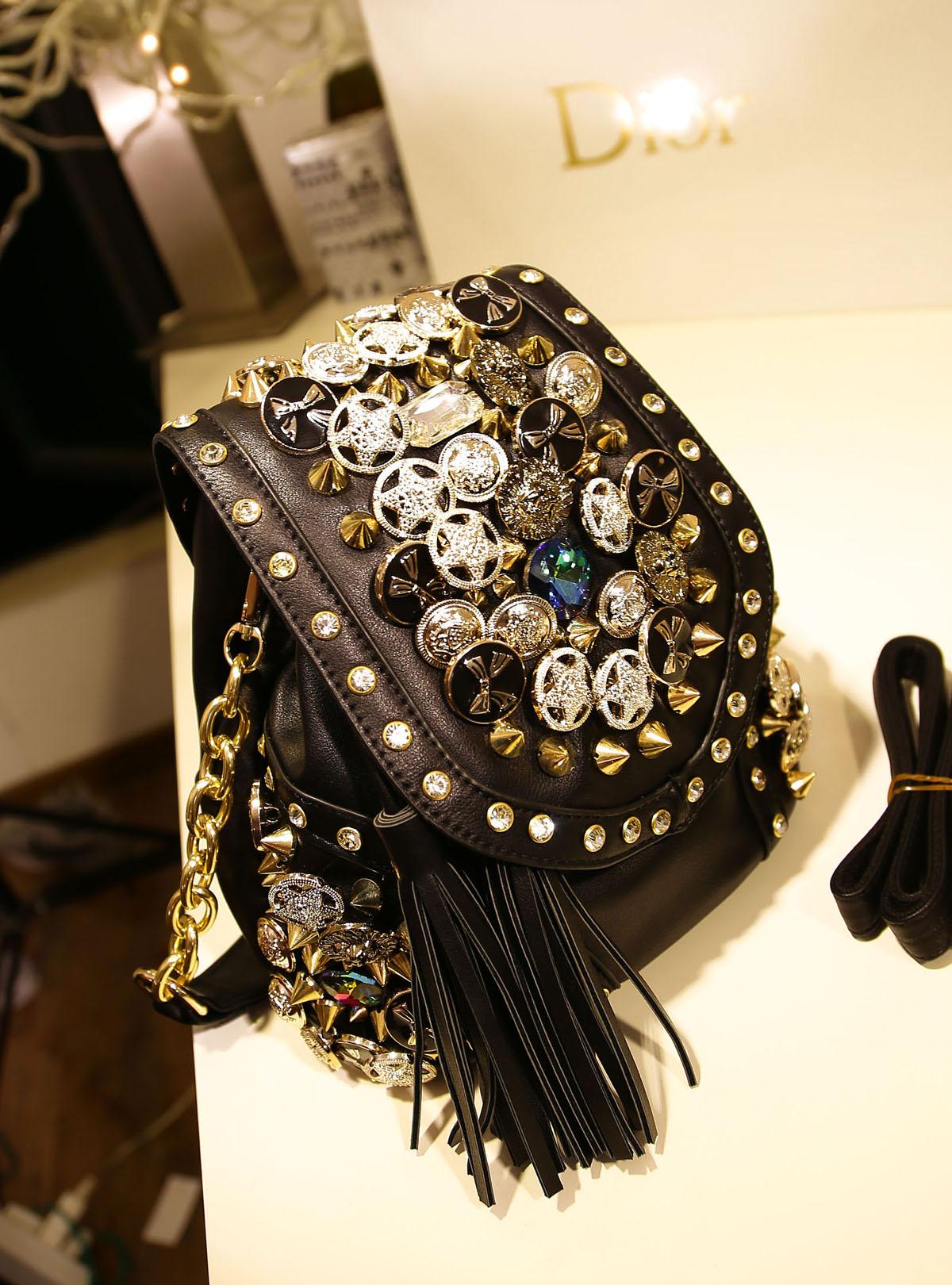 2015 fashion female shoulder bag handbags button rivet tassel bucket bag(China (Mainland))