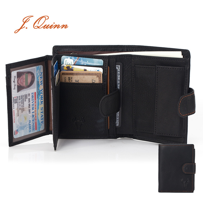 J.Quinn Mens Wallet Leather Genuine Card Coin Wallet Man Purse Black Soft Vintage Retro Vertical Wallets Short Zipper Pocket New(China (Mainland))