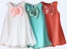 New 2016 dresses girls Baby blue/white/pink girls clothes girl dress dresses christmas party dresses costumes free shipping