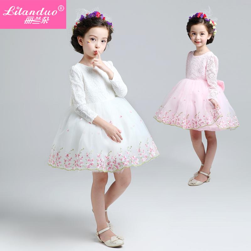 Children dress autumn flower girl Princess Dress Girls Long Sleeved skirt summer wedding