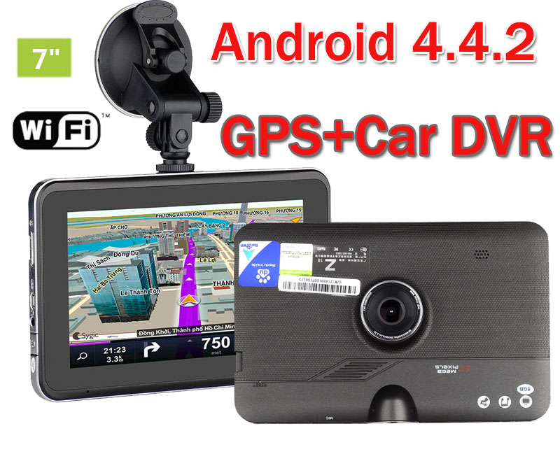 7 inch 16GB HD1080P Vehicle Car DVR Camera GPS Navigation Android 4.4.2 Dash cam video recoorder camcorder + FM + WIFI +Free Map(China (Mainland))