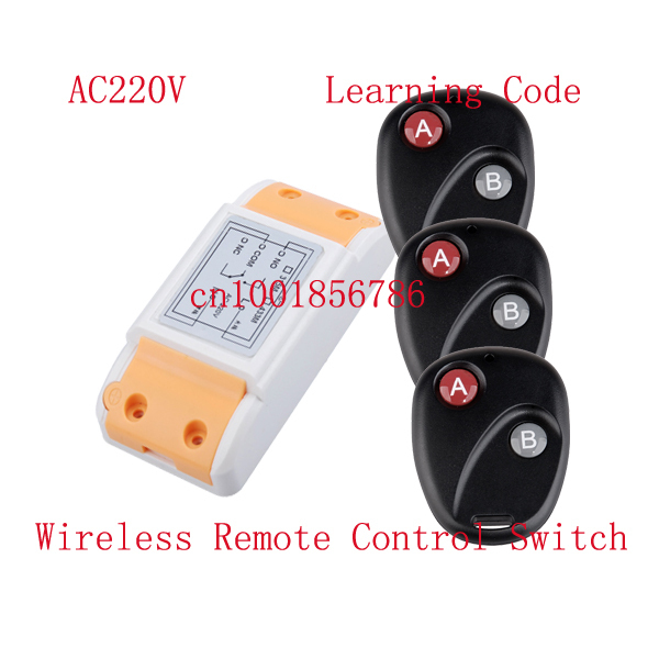 AC220V RF wireless remote control switch system 1Receiver &amp;3Transmitter 10A Learning code output way adjustable315/433MHZ<br><br>Aliexpress