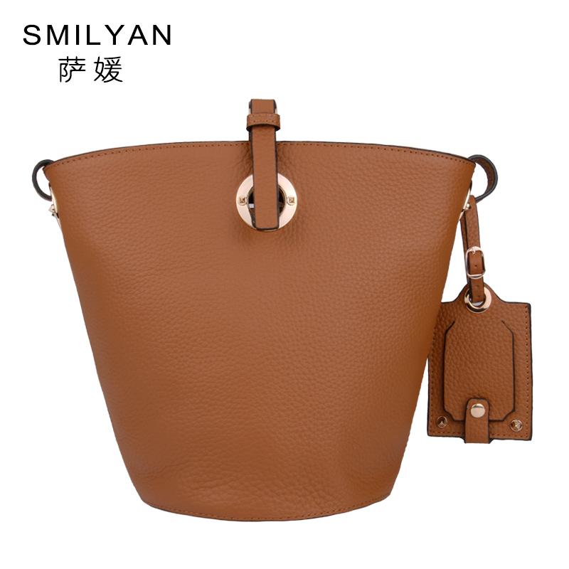 Smilyan vintage bucket bag women 100 real genuine leather handbag fashion shoulder messenger bags handbags women