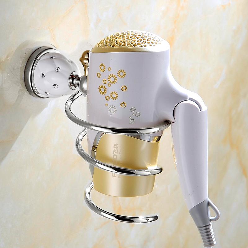 Free Shipping European Style Chrome Diamond Bathroom Hairdryer Holder Hair Dryer Holder Bathroom Wall Shelf Hair Dryer Rack