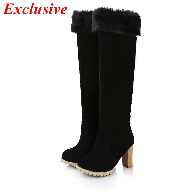 2015 Thick With Knee Boots Winter Short Plush High-heeled High Boots Nubuck Leather Woman Shoe Plus Size Thick With Knee Boots