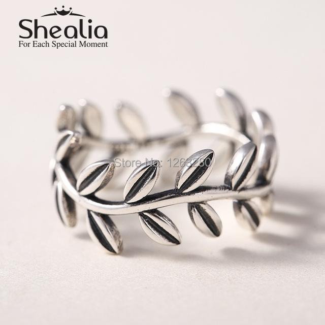 Листья кольца аутентичные 925 чистое серебро круг кольца для женщины ювелирные изделия аксессуары SH0568