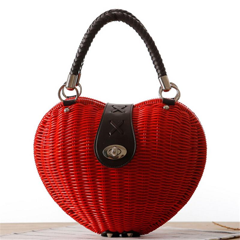 free shipping Straw bag hand bag new 2016 model of love woven rattan handbags Korea idyllic small pepper bags Post lc073(China (Mainland))