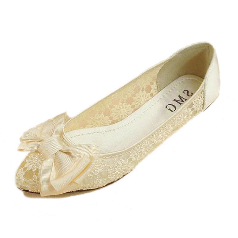 New Pointed Toe Bow Slip-on Flats For Women Sexy Breathable Lace Shallow Mouth Women Flats Ladies Casual Flat Shoes Ballerinas(China (Mainland))