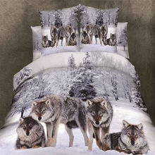3d Wolf/Tiger print bedcover queen size Duvet cover sheet pillowcase 4pc bedding sets 100% Cotton Fabric(China (Mainland))