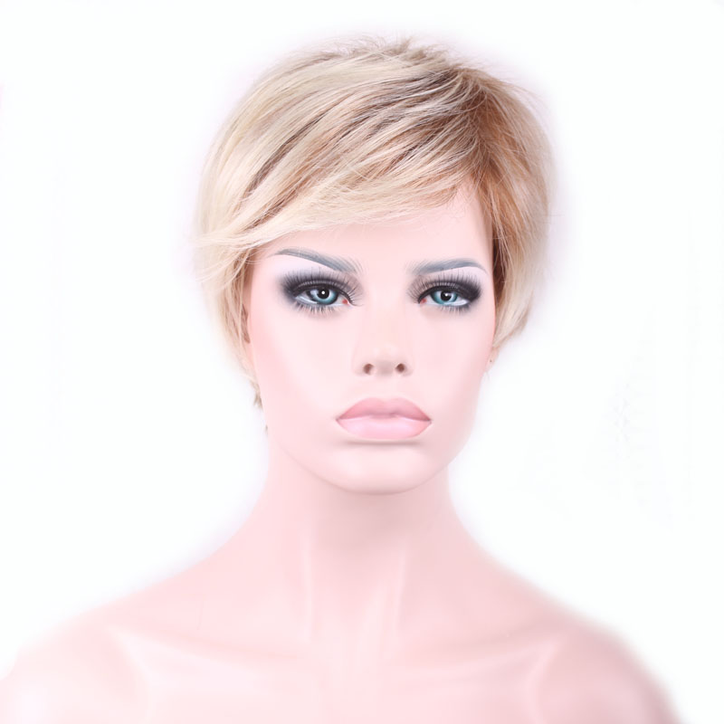 26 cm New Stylish Synthetic Wigs Pixie Cut Wig Short Straight Hair Wig for Women Glamorous Blonde Blending cosplay wig W203<br><br>Aliexpress