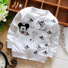 2016 Spring Autumn Long Sleeved Cartoon Mouse Letter Girls Boys Jackets Cardigan Baby Infant Children Kids Outwear Coats MT597