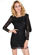 2014 Summer New Style Fashion Elegant Sexy Bodycon Long Sleeve Back Open Lace Dress Women Club Dresses Red&Black 38 - GiveMeFive store