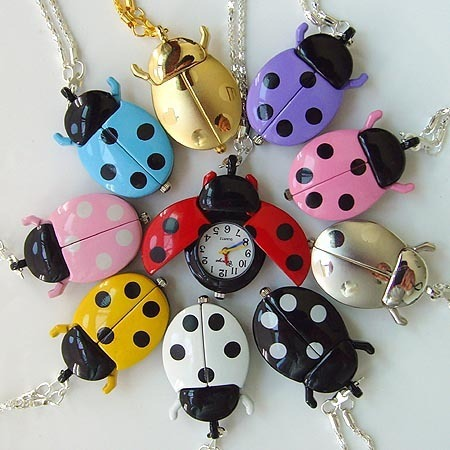 Free shipping new bronze ladybug pocket watch necklace with chain black ladybug watch 30pcs/lot 10color<br>