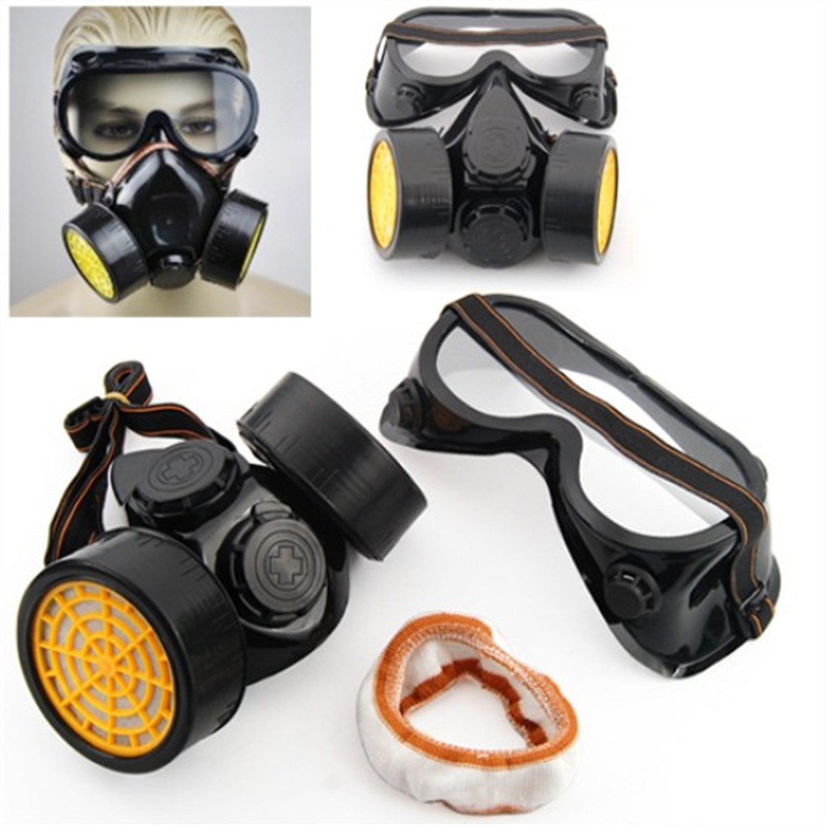 New Double Cartridges Filter Cotton Chemical Respirator Anti-Dust Mask + Eye Goggles(China (Mainland))