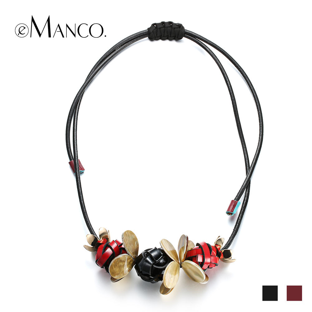 //Black necklace leather cord handmade knit necklace// small pendant necklace resin jewelry costume Jewelry necklace eManco(China (Mainland))