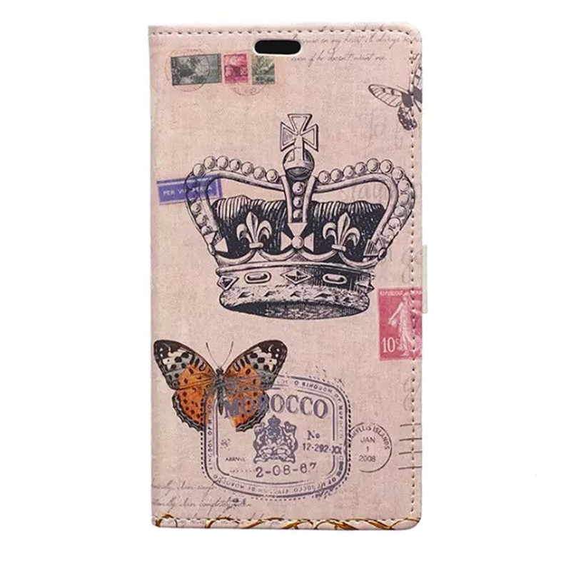 2015 New promotion elegant Imperial crown pencil drawing front cover magnetic button for LG leisure leather protective case skin(China (Mainland))
