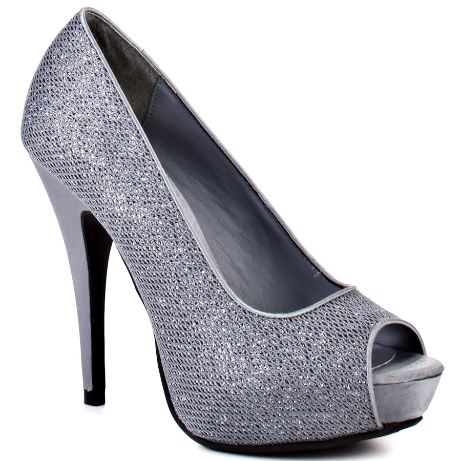 Cheap Silver Peep Toe Heels
